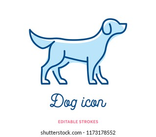 Dog outline icon isolated on white background. Minimal animal icon set, cute puppy. Hound symbol with editable stokes for infographics or web use. Flat design puppy silhouette. Good boy at the vet