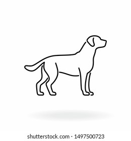 Dog outline icon. Pet vector illustration. Canine symbol isolated on white background.