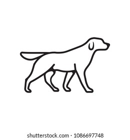 Dog outline vector isolated flat or linear pet dog logo icon