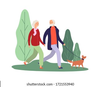 Dog owners. Elderly couple walking with puppy. Healthcare therapy, breathe fresh air. Old people walk in park or forest vector illustration