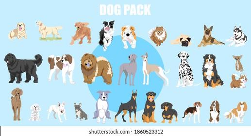 dog pack vector web illustration