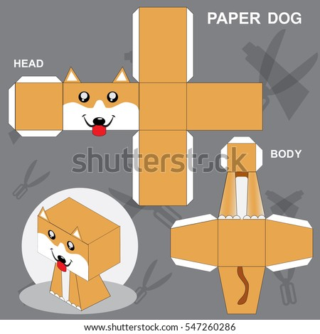 Dog Paper Craft Template Stock Vector Royalty Free 547260286