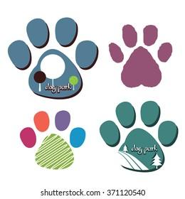 dog park or other dog logos  superimposed on dog paw print