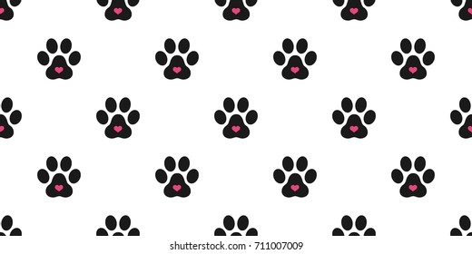 Dog Paw Cat Paw heart icon vector Seamless pattern wallpaper background