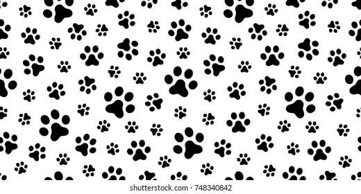 Dog Paw Cat Puppy Foot Print Kitten Vector Seamless Pattern Wallpaper Background