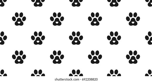 Dog Paw Cat Paw puppy kitten heart vector Seamless pattern wallpaper background
