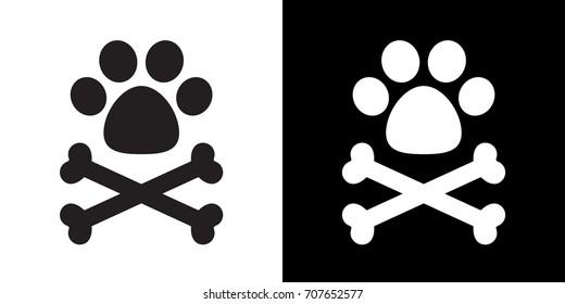 dog paw cross bone pirate flag vector icon logo illustration doodle