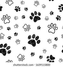 Dog paw doodles seamless pattern. Doggie love background. Puppy cute footprints.