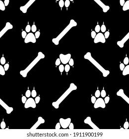 dog paw footprint and bone, seamless pattern