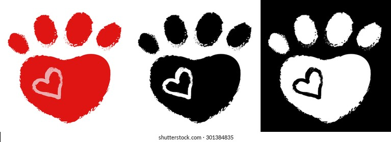 dog paw with heart, collection, vector illustration