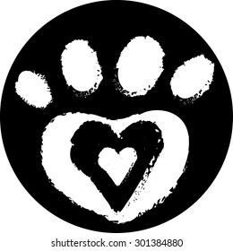 dog paw with heart, isolated, vector illustration
