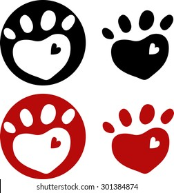 dog paw with heart, set, vector illustration