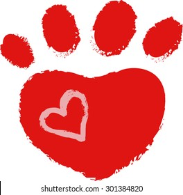 dog paw with heart, vector illustration