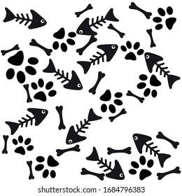 Dog Paw isolated dog bone. Fish skeleton pattern vector.