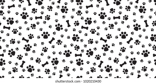 Dog Paw isolated dog bone Seamless pattern vector puppy cat wallpaper background