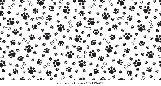 Dog Paw isolated dog bone Seamless pattern vector puppy cat wallpaper background white