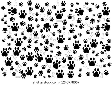 Dog Paw isolated dog bone Seamless pattern vector puppy cat wallpaper background white.Vector illustration EPS 10.