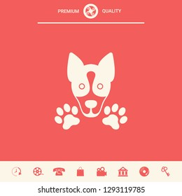 Dog, paw - logo, symbol, protect sign. Graphic elements for your design
