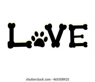Dog paw print with love word. Pet room decor modern wall decor vector illustration