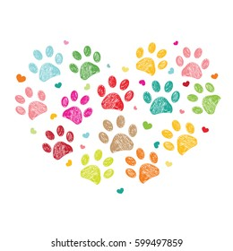 Dog paw print made of heart vector