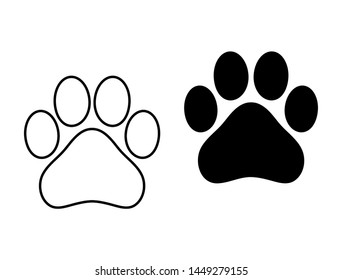 Dog Paw Print Simple Solid Outline Symbol Silhouette