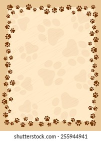 Dog paw prints border / frame on brown grunge background
