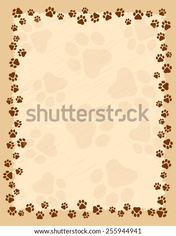 Dog Paw Prints Border Frame On Stock Vector Royalty Free 255944941