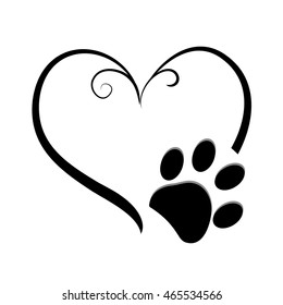 Dog paw prints with heart symbol. Tattoo design vector illustration