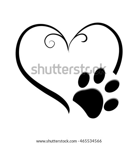 Dog Paw Prints Heart Symbol Tattoo Stock Vector Royalty Free