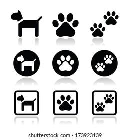 Dog, paw prints vector icons set