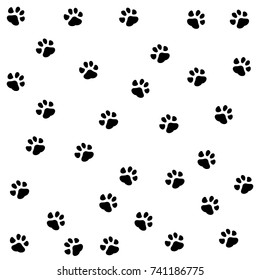 Dog paw seamless.Cat Paw Dog Paw kitten vector Seamless Pattern wallpaper background