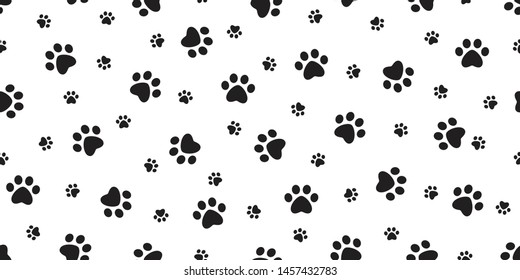 Dog Paw seamless pattern footprint vector cat pet scarf isolated cartoon repeat wallpaper tile background illustration design