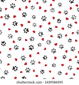 Dog Paw seamless pattern with hearts vector footprint kitten puppy heart tile background repeat wallpaper cartoon isolated illustration white - Vector illustration