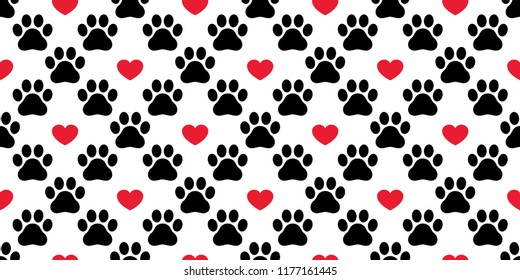 Dog Paw seamless pattern vector footprint heart valentine cat kitten puppy bear scarf isolated cartoon repeat wallpaper tile background illustration