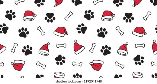 Dog paw seamless pattern vector Christmas Santa Claus Xmas hat french bulldog bone tile background scarf isolated repeat wallpaper illustration cartoon