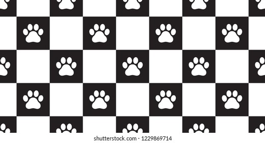 dog paw seamless pattern vector checked scarf isolated french bulldog cat footprint repeat wallpaper tile background gift wrap