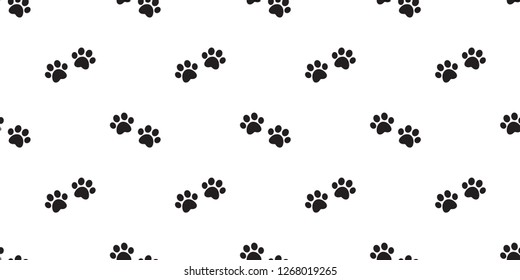 Dog Paw seamless pattern vector footprint french bulldog checked repeat wallpaper tile background scarf isolated cartoon illustration