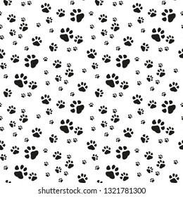 Dog Paw seamless pattern vector footprint kitten puppy tile background repeat wallpaper cartoon isolated illustration white - Vector illustration