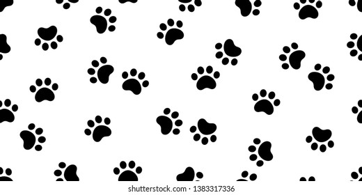Dog Paw seamless pattern vector footprint cat pet scarf isolated cartoon repeat wallpaper tile background