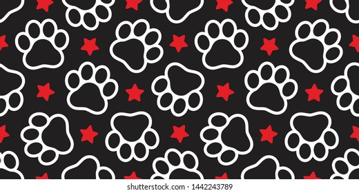 Dog Paw seamless pattern vector star footprint pet cat scarf isolated repeat wallpaper cartoon tile background design black