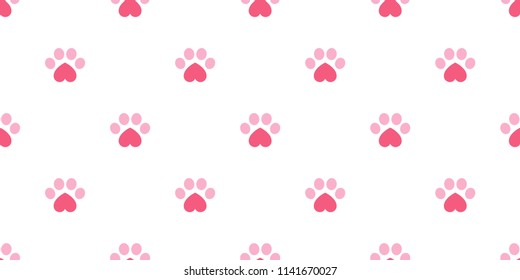 Dog Paw seamless vector footprint pattern heart valentine kitten puppy tile background repeat wallpaper isolated illustration pink