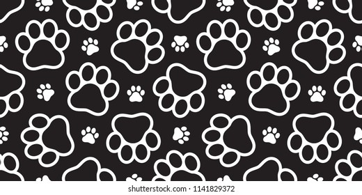 Dog Paw seamless vector footprint pattern kitten puppy tile background repeat wallpaper isolated illustration cartoon black