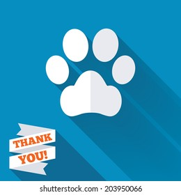 Dog paw sign icon. Pets symbol. White flat icon with long shadow. Paper ribbon label with Thank you text. Vector