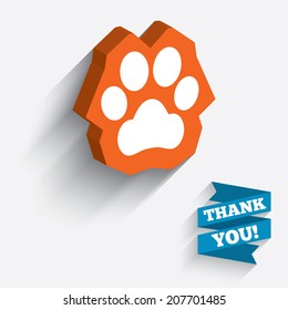 Dog paw sign icon. Pets symbol. White icon on orange 3D piece of wall. Carved in stone with long flat shadow. Vector