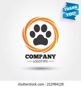 Dog paw sign icon. Pets symbol. Business abstract circle logo. Logotype with Thank you ribbon. Vector
