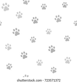 Dog paw track. Seamless animal pattern of paw footprint. Vector illustration.