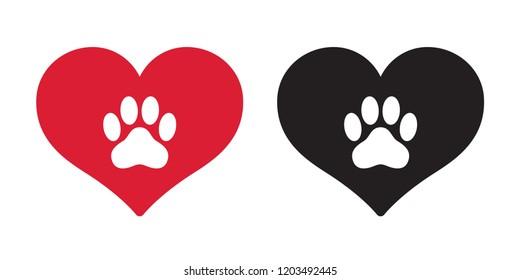 Dog paw vector icon heart logo symbol french bulldog valentine cartoon illustration clip art graphic simple