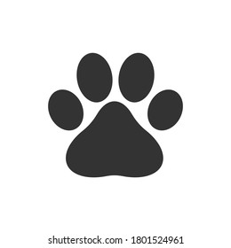 Dog pawn print silhouette icon symbol. Vet logo sign. Vector illustration image. Isolated on white background.