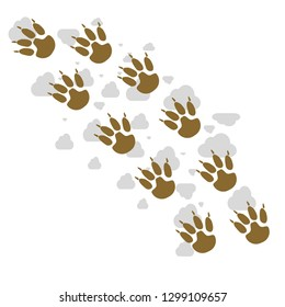 Dog paws in mud.Muddy paws. - Vector