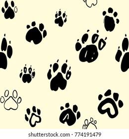 Dog paws seamless pattern. Animal vector monochrome background.